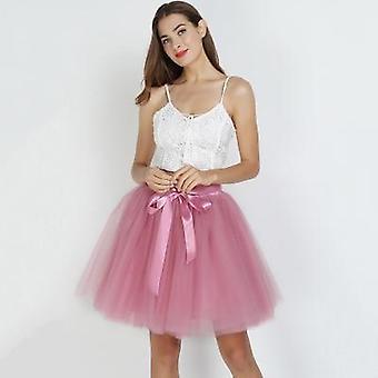 Women's High Waist Swing Dolly Ball Gown Underskirt Mesh Summer Midi Skirt