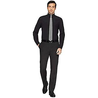 """Brand - Buttoned Down Men's Tailored Fit Button-Collar Pinpoint Non-Iron Dress Shirt, Black 17.5"""" Neck 33"""" Sleeve"""