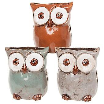 Village Pottery Owl Planter Small