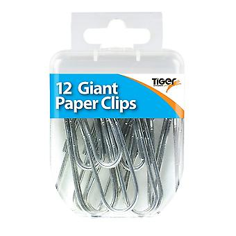 Tiger Stationery Essential Giant Paper Clips (Pack of 12)