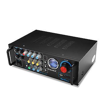 Qinxwz KA-638C 2CH 80W UV Meter Amplifier Karaoke Mixer Support Memory Card USB Microphone
