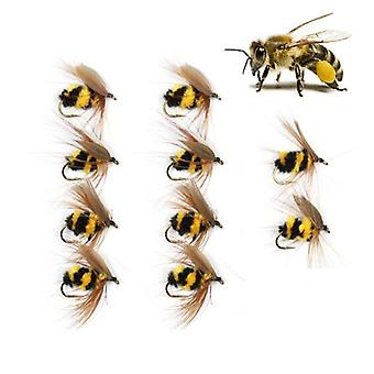 ZANLURE 10PCS/Set 15mm Bumble Bee Lure Fishing Lure Artificial Insects Bait with #10 Hook