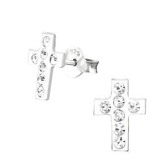 Lapset'Sterling Hopea Valkoinen Crystal Cross Nasta Korvakorut