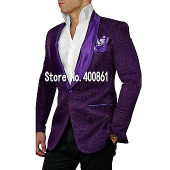 High Quality One Button White Paisley Groom Tuxedos Shawl Lapel Groomsmen