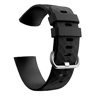 Fitbit Charge 3/4 Bracelet Silicone Noir/Argent (L)