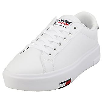 Tommy Jeans Fashion Cupsole Womens Platform Trainers in White Yellow