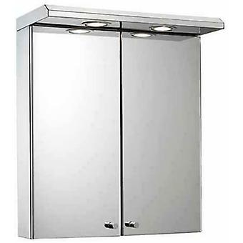 Croydex Mirror Cabinet Double Door Stainless Steel Illuminated and Shaver Socket