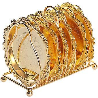 6pc klassische Golden Cocktail Metall Untersetzer Continental plated Matte