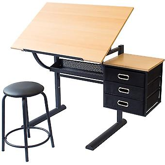 Stationery Island CAYE Artist Table. Tiltable Desk With Storage, Stool  Clips. For Art, Design