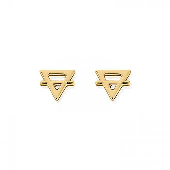 ChloBo Sterling Silver Gold Plated Earth Stud Earrings GEST3135