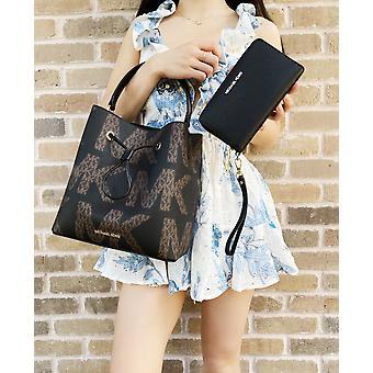 مايكل كورس سوري دلو كبير crossbody شعار الرسم حقيبة يد سوداء + المعصم