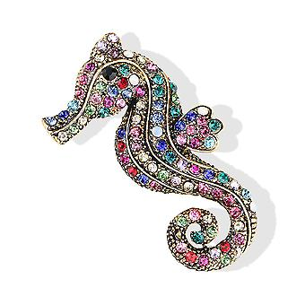 Retro Ladies Brooch Seahorse Corsage Rhinestone Inlaid Brooch Pin