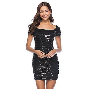 Flitrované obväzové šaty štvorcový krk s krátkym rukávom späť zips bodycon clubwear