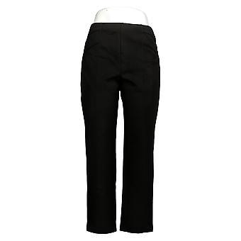 Susan Graver Women's Pants Petite Ponte Knit W/ Seam Detail Black A372470