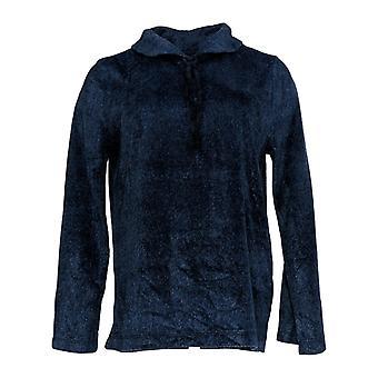 Carole Hochman Women's Pajama Top Shawl Collar Sueded Fleece Blue A368297
