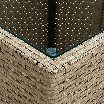 vidaXL Tavolino Beige 41,5x41,5x44 cm Poly Rattan e Vetro temperato