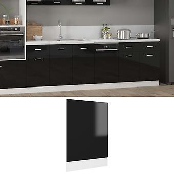 vidaXL dishwasher hood high gloss black 45x3x67 cm chipboard