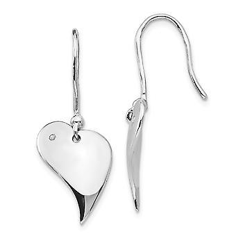 925 Sterling Silver Polished Shepherd hook White Ice .01ct. Diamond Love Heart Earrings Measures 31x13mm Wide Jewelry Gi