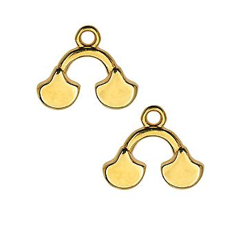 Cymbal perle avslutninger for Ginko perler, Karavos II, 14x16mm, 2 stykker, 24k gullbelagt