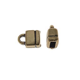 Final Sale - Antiqued Brass Square Cord Ends For Regaliz 5mm Flat Cork 10.5x7.5mm - 2 Pcs