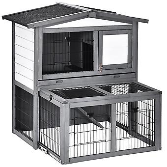 PawHut 2 Tier Wooden Rabbit Hutch Small Animal Cage Slide Out Tray Ramp Outdoor Run Openable Roof Grey 101.5 x 90 x 100 cm