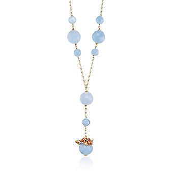 MISIS Women's Necklace Krill Silver 925 Orange Zircons Agata 40 cm - CA07445