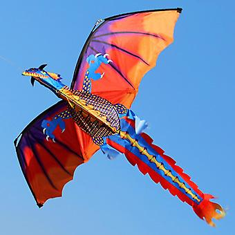 Outdoor Colorful Dragon Flying Kite With Tail Line Kids.