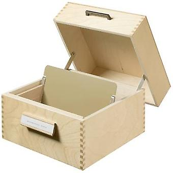 HAN 505 Card index box Natural wood No. of cards (max.): 900 cards A5 landscape incl. metal prop, retractable lid with handle