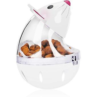 Slow Feeder Mouse Toy Cat Safe Durable Food Dispensing Tumbler Treat Ball Kitten Toys(white)