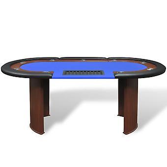 vidaXL pokertafel voor 10 spelers met dealergebied en chip tray blauw