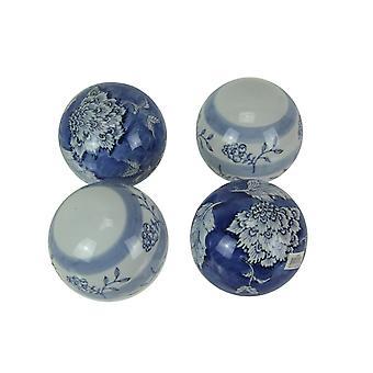 Set of 4 Ceramic Decorative Orbs Blue Floral Decor Balls Home Accent Centerpiece