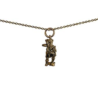 9ct Gold 17x9mm Robin Hood Pendant with a cable Chain 20 inches