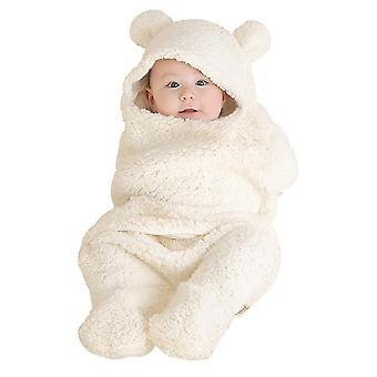 White 60cm pure color split-leg lamb velvet quilt cute bear baby blanket warm comfortable breathable soft blanket homi3618