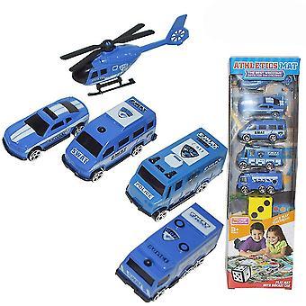 6pcs mini coche de policía juguete educativo juguete azul