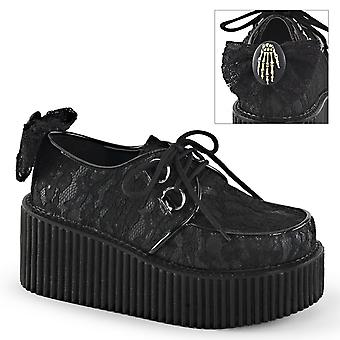 Demonia Women's Chaussures CREEPER-212 Blk Vegan Leather-Lace