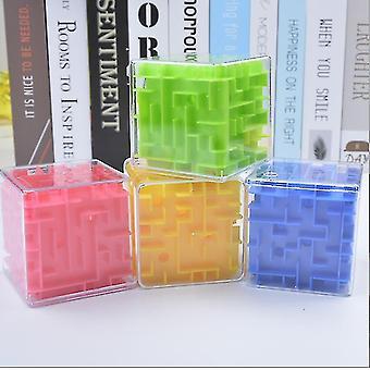 3d Labirynt Magic Speed Cube, Przezroczyste sześć jednostronne puzzle, Rolling Ball Game (Różowy)