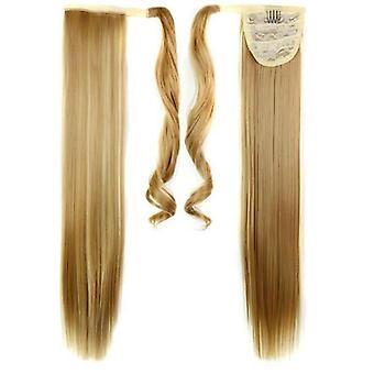 (60cm27H613#) Lange glatte Haarwickel Pferdeschwanz Clip in Pferdeschwanz Haarverlängerungen Natur