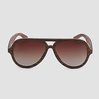 Eco friendly unisex wooden sunglasses aviator dark brown