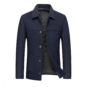 Silktaa Mannen Solid Color Casual Single-breasted Revers Overjas
