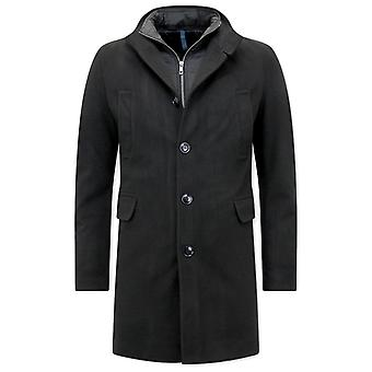 Classic Long Coat With Zipper - Black