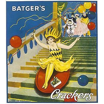 Batgers Crackers. Ingelijste foto. Een meisje in een gele feestfrock en bijpassende hoed glijdt naar beneden.