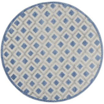 5' Round Blue and Gray Indoor Outdoor Area Rug