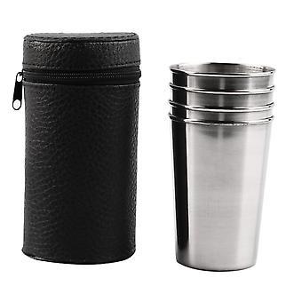 1 sett med 4 rustfritt stål camping kopp med saken