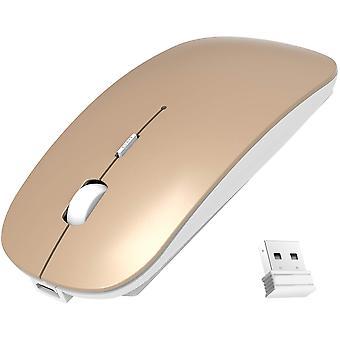 Vezeték nélküli egér, vékony hordozható, 2,4g némító egér Usb Nano vevővel, újratölthető (arany)