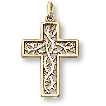 Corona de espinas Cruz colgante, 14K oro amarillo