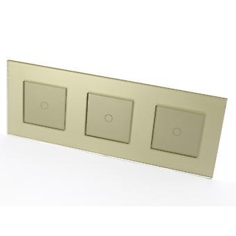 Я LumoS роскошный золотой стеклянный фрейм & золото вставить выключатели контролируемых Светодиодные