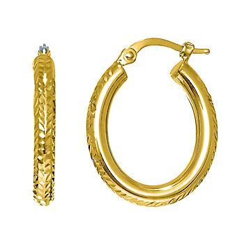 14K goud diamant geslepen ovaal Sparkle Hoop Earrings Hoop Earrings