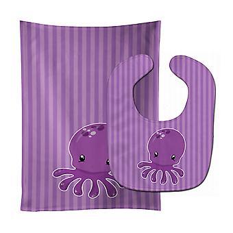 Trésors de Carolines BB8904STBU nautique pieuvre mauve bébé Bavoir & tissu