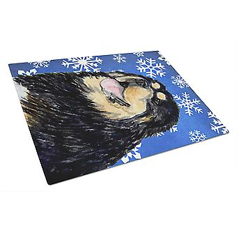 Tibetan Mastiff Winter Snowflakes Holiday Glass Cutting Board Large