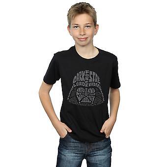 Star Wars Boys Darth Vader Text Head T-Shirt